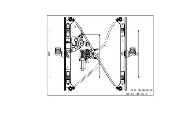 Aftermarket WINDOW REGULATORS for CHEVROLET - TRAILBLAZER, TRAILBLAZER,02-9,RIGHT HANDSIDE FRONT REGULTR